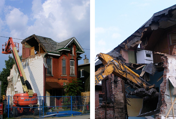 old Victorian house demolition, Hamilton