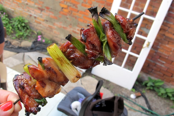 yakitori, Japanese food, chicken stick, green onions, BBQ