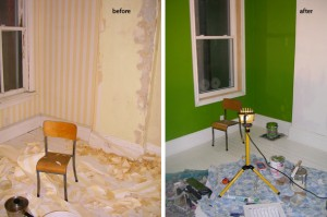 green room before & after