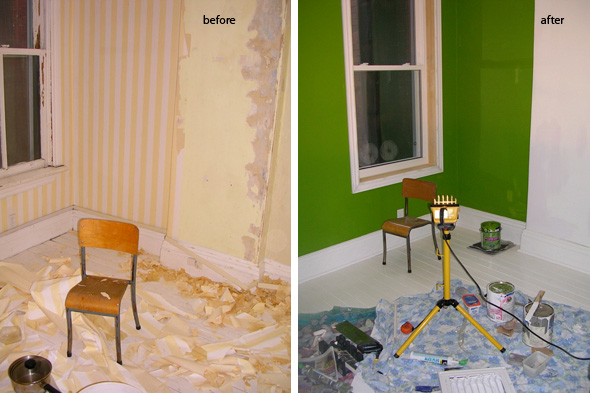 green room, renovation, before & after