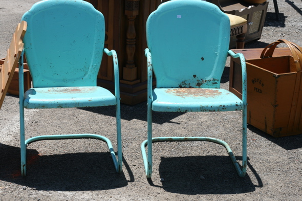 blue metal antique chairs, Aberfoyle Antique Market