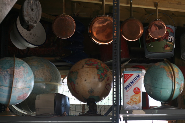 old globes, Aberfoyle Antique Market