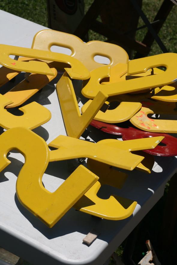yellow, red, metal, letters & numbers, Aberfoyle Antique Market