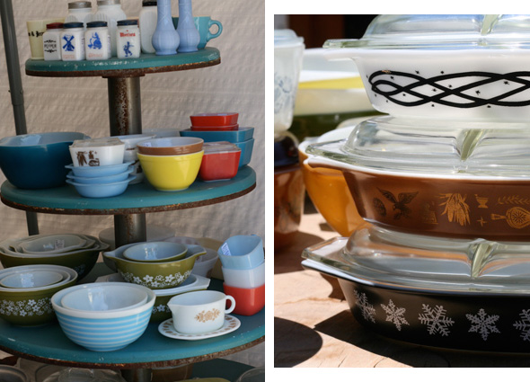 vintage 60's & 70's casserole dishes, Aberfoyle Antique Market