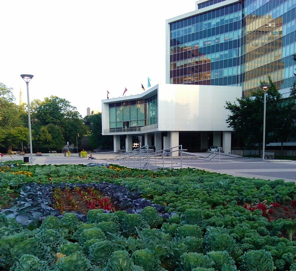 Hamilton, city hall, exterior, edible garden