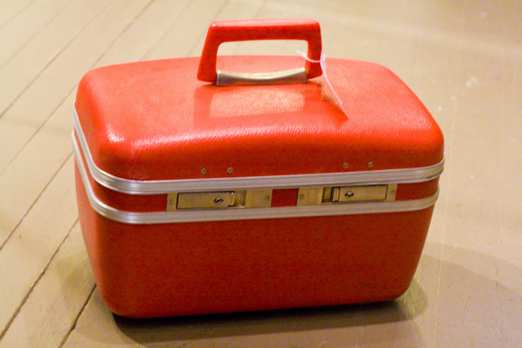 vintage red suitcase, Modify Your Closet, Hamilton, vintage & consignment clothing store