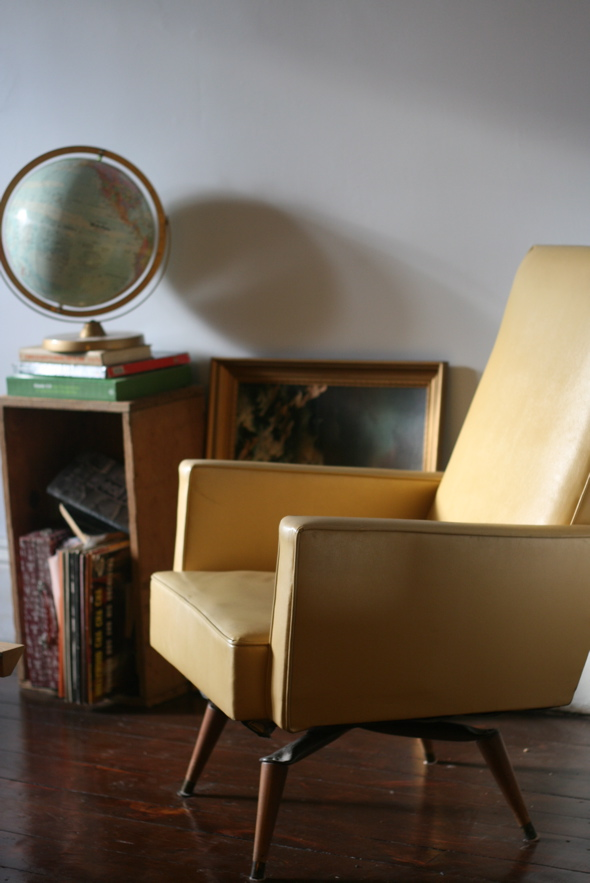 vintage yellow vinyl chair, interior design