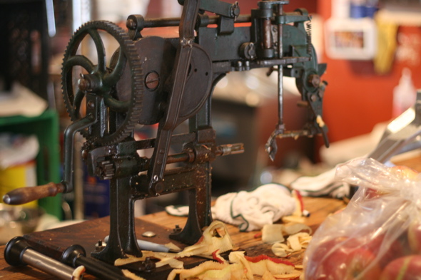 hand crank apple peeler, Brown Dog Coffee & Frittery, Paris, Ontario