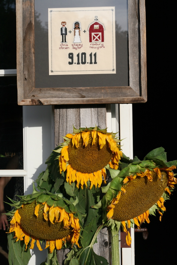 cross stitch, sunflowers, wedding