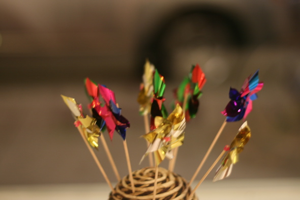 mini colourful hand windmills, You Me Gallery, exhibit James north art crawl, August 2011