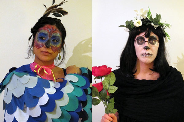 DIY bird, wings, feathers, peacock, blue bird, blue jay, day of the dead, dia de los muertos, easy Halloween costume, makeup, roses