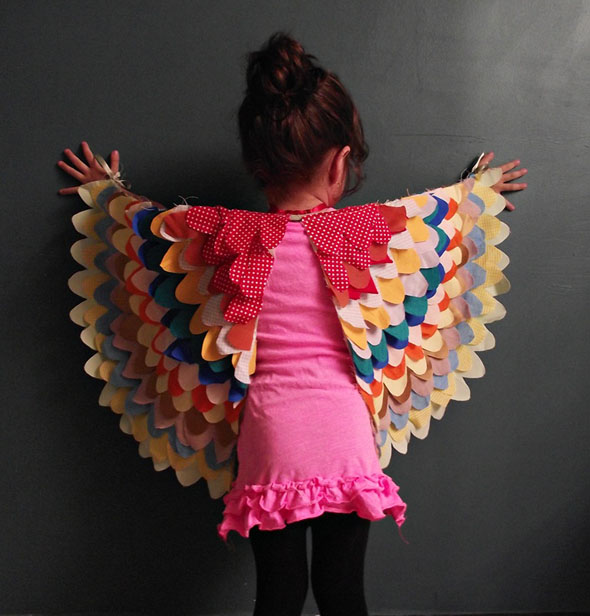 DIY, wings, easy costume, kids, scrap fabric, halloween costume
