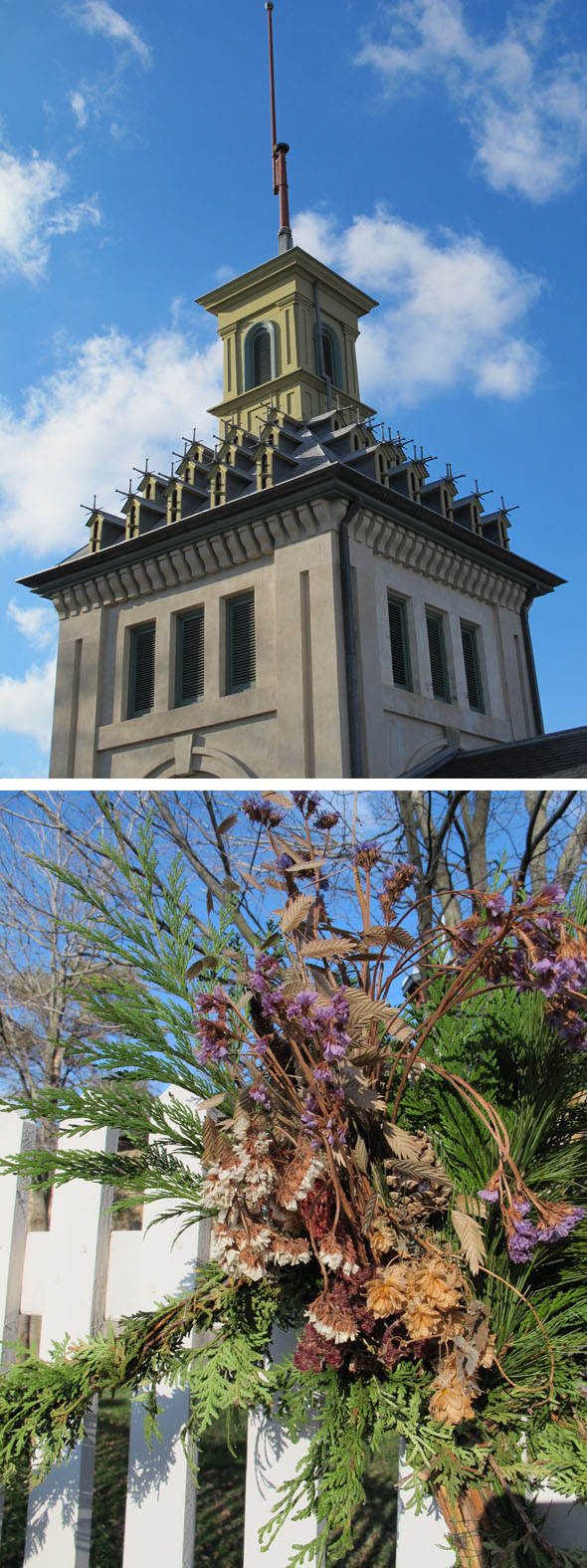 Dundurn castle bird aviary, pigeon home, Hamilton, Victorian Christmas decorations, cedar boughs, dried flowers