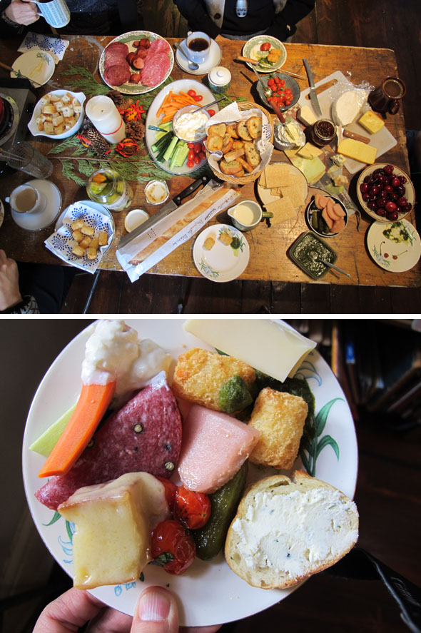 meats, cheeses, spread for Christmas, Christmas breakfast feast