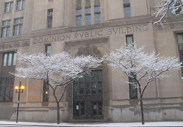 Dominion Public Building, John St. south and Main St., Hamilton, Ontario, snowy day,