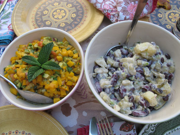 mango salsa & bean potato salad