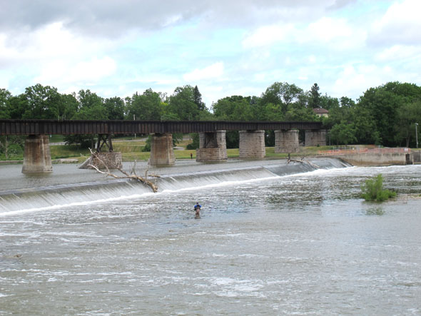 Caledonia, Grand River, Ontario, railway bridge, fishing