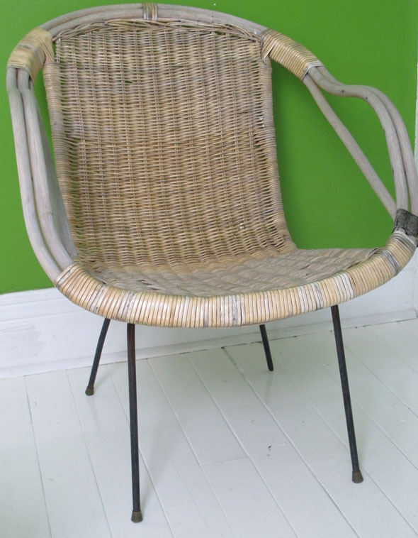 midcentury basket chair, antique thrift find, concession street, Hamilton