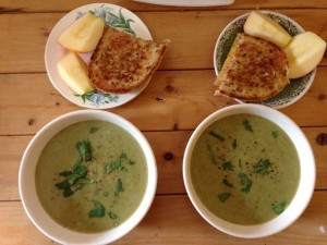 potato leek soup & grilled cheese