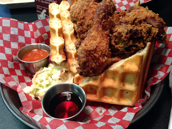 Staxx chicken and waffles